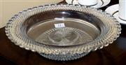 Sale 7997 - Lot 21 - AN ELABORATE EDWARDIAN HAND CUT LEAD CRYSTAL LARGE BROAD RIMMED BOWL WITH SCALLOPED EDGE