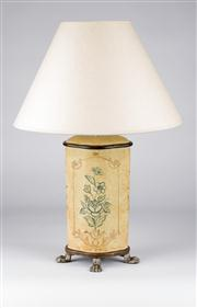 Sale 8350L - Lot 22 - A pair of Italian hand painted cylindrical form lamps on claw feet with cream shades, total H 57cm, RRP $ 680