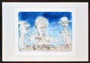 Sale 8389 - Lot 509 - John Olsen (1928 - ) - Seamus Heaney and Oysters, 19994 44 x 60cm