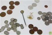 Sale 8477 - Lot 18 - Australian Coins Inc Mounted Six Pence, Pennies etc Together With A Military Badge