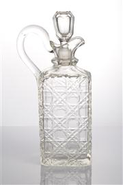 Sale 8528A - Lot 30 - A Victorian hob-nail decanter with handle and lip, total H 25cm