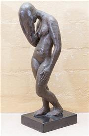 Sale 8550H - Lot 59 - A Guy Boyd bronze standing woman sculpture on a marble base, Prov: David Jones Art Gallery, Private collection in Sydney, total H 38cm