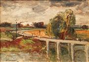 Sale 8665 - Lot 563 - George Feather Lawrence (1901 - 1981) - Figures on Bridge, 1958 27 x 37cm