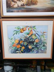 Sale 8645 - Lot 2008 - Patricia Johnston - In the Persimmon Orchard watercolour 53 x 73cm signed lower right