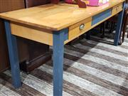 Sale 8740 - Lot 1333 - Two Drawer Timber Kitchen Bench with Painted Base