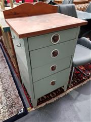 Sale 8777 - Lot 1025 - Timber Top Chest of Four Metal Drawers