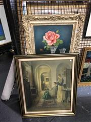 Sale 8824 - Lot 2031 - 2 Works: Artist Unknown - Still Life - Rose, Peach and Crystalwares oil on board, together with a Decorative Print