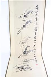 Sale 8840S - Lot 658 - Chinese Scroll Of Prawns with Calligraphy L: 132cm