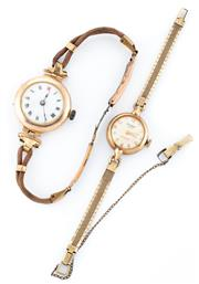 Sale 8915 - Lot 337 - TWO VINTAGE 9CT GOLD LADYS WRISTWATCHES; a Waltham Graduate 17 jewel incabloc on gold plated band, other unmarked (distressed) on c...