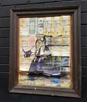 Sale 9036 - Lot 2065 - Framed Bank Note Collage depicting Vermeers Woman Holding Balance (55 x 58cm) -
