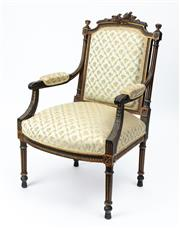 Sale 9044J - Lot 74 - An antique French original painted and parcel giltwood armchair C: 1870. The chair in time darkened green paint with traces of origi...