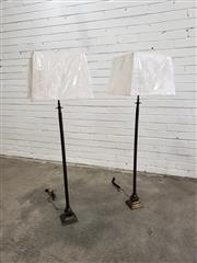 Sale 9059 - Lot 1034 - Pair of Tall English Brass Style Table Lamps - 5790 (130cm)