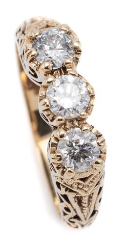 Sale 9083 - Lot 351 - AN EDWARDIAN STYLE THREE STONE DIAMOND RING; set in 9ct gold with 3 round brilliant cut diamonds totalling approx. 0.64ct, P1 - P2,...