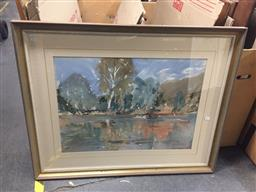 Sale 9139 - Lot 2064 - Rupert Richardson the Gwydir watercolour, frame: 85 x 105 x 5 cm, signed lower right -