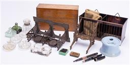 Sale 9185E - Lot 96 - A collection of desk wares including inkwells, fountain pens and others