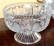 Sale 7997 - Lot 13 - A LARGE LEAD CRYSTAL FOOTED BOWL WITH HAND ETCHED FLORAL PANELS