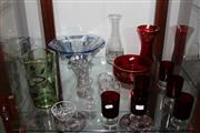 Sale 8151 - Lot 78 - Ruby Glass Drink Wares with Other Coloured Glass Wares