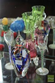 Sale 8256 - Lot 69 - Coloured Air Twist Stem Pair of Glasses With Other Art Glass inc Decanter Signed Ian