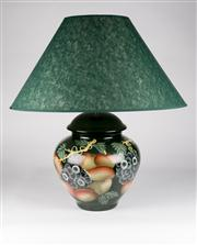 Sale 8350L - Lot 23 - A pair of Italian hand painted urn lamps with fruit motif and forest green shades, total H 61cm, RRP $ 780