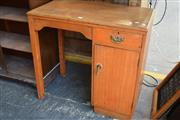 Sale 8550 - Lot 1317 - Timber Kneehole Desk with Single Drawer & Door