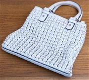 Sale 8593A - Lot 102 - A Karen Millen white woven leather handbag with front pocket W 30cm with some marks