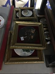 Sale 8702 - Lot 2479 - Collection of Small Framed Painted Decorative Ceramic Plaques incl Ships, one frame a/f