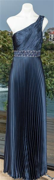 Sale 9044H - Lot 11 - A navy blue evening gown with pleats and embelishments (new with tags) size 10 Made in the USA