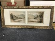 Sale 9045 - Lot 2072 - A Pair of Early C20th Dry Point Etchings, Scottish Lake Scenes (41 x 94cm) SLR -