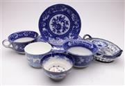 Sale 9052 - Lot 37 - Blue & White Oversized Cup Saucer with Other Blue & White Wares incl. Pierced Basket