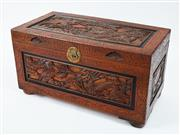 Sale 9080J - Lot 304 - A vintage camphor wood trunk with extensive carving, the top with exotic birds, the 4 sides with dragons. Ht: 53cm x W:101cm x D: 52cm