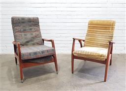 Sale 9121 - Lot 1091 - Mismatched pair of vintage timber frame armchairs (h80 x w61 x d79cm)