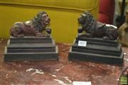 Sale 8312 - Lot 1017 - Pair of Cast Iron Lion Figure Door Stops