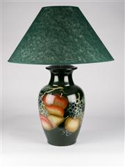 Sale 8350L - Lot 24 - A pair of Italian hand painted urn lamps with fruit motif and  forest green shades, total H 77cm, RRP $ 780