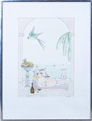 Sale 8800 - Lot 208 - Three artworks including a watercolour by Jane Thatcher, an Interior decorating photograph and Harbour Scene