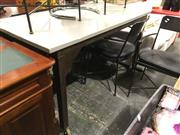 Sale 8740 - Lot 1547 - Industrial Based Timber Top Table on Castors