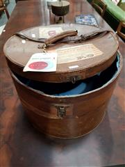Sale 8908 - Lot 1017 - Vintage Leather Hat Box with Travel Stickers