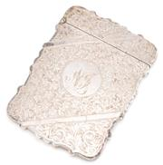 Sale 8915 - Lot 364 - A HALLMARKED STERLING SILVER CARD CASE; engraved front and back with ivy leaf pattern and scrolls with monogram NT, hallmarked H&A B...
