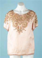 Sale 9027F - Lot 41 - A Zimmerman scoop neck T shirt embellish with gold flowers and pearls (some flowers missing)  Size M