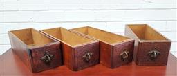 Sale 9102 - Lot 1233 - Vintage set of four timber sewing drawers with ornate handles (h10 x w35 x d13cm)