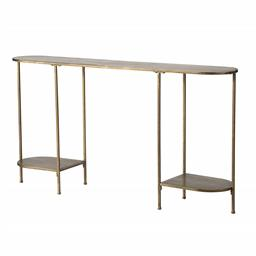 Sale 9140F - Lot 160 - An oval iron console table with matching lower shelves, a bronze frame, and a trio of slender leg. Dimensions: W145 x D30 x H78.5 cm