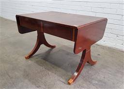 Sale 9162 - Lot 1058 - Biedermeier Style Fruitwood Sofa Table, with drop-leaf ends, two frieze drawers with veneered fascia, on end supports with splayed f...