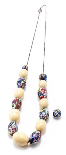 Sale 9180E - Lot 163 - A quantity of millefiori and other beads on chain