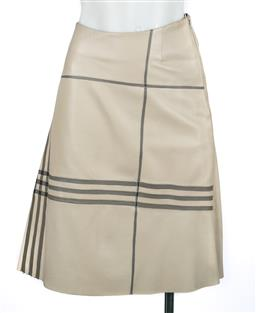Sale 9095F - Lot 88 - A Burberry beige soft leather A-line skirt with grey striped panel, size 8.