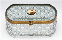 Sale 9255S - Lot 87 - An Antiqur cut glass jewellery box with brass mount and central cameo to lid Length 22cm Width 14cm Height 9cm