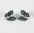 Sale 3701 - Lot 421 - A PAIR OF 18CT WHITE GOLD BOW-SHAPED EARRINGS SET WITH SAPPHIRES AND DIAMONDS.