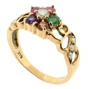 Sale 7995 - Lot 304 - A 9CT ROSE GOLD GEM SET REGARD RING; floral design set with ruby, emerald, garnet, amethyst, ruby and diamond with seed pearls to sc...