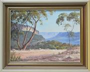 Sale 8068A - Lot 34 - John Emmett (1927 -) - Looking outh from OSullivans Road, Katoomba 22.5 x 30cm