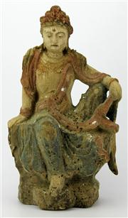 Sale 8096 - Lot 29 - Guanyin Carved Timber Figure