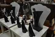 Sale 8105 - Lot 1061 - Set of 6 Ceramic Black and White Figures, Figural Table Mirror & Pair of Figural Glass Screen Table Lamps (9)