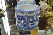 Sale 8217 - Lot 74 - Chinese Blue & White Dragons Brushpot